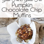 A Celebrate Fall witAh these popular Grain-Free, Gluten-Free Pumpkin Chocolate Chip Muffins. Rich, moist and sprinkled with chocolate chips. A little taste of heaven in each bite.