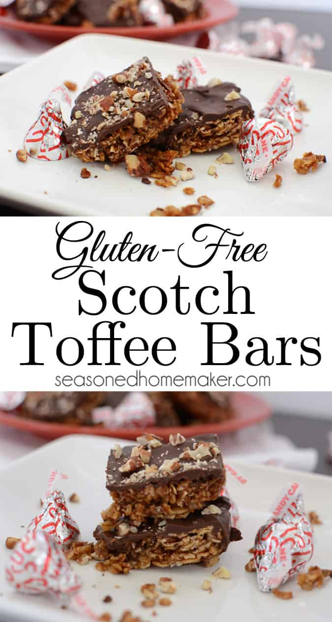 In our family there is one dessert that says, Christmas.  It's Scotch Toffee Bars.  My mother-in-law has been making these at Christmas since I was a newlywed. Only one problem ~ her's are not gluten-free.  And, not particularly healthy. So this gluten-free girl has turned a family favorite into a Healthy Gluten-Free Toffee Bar.
