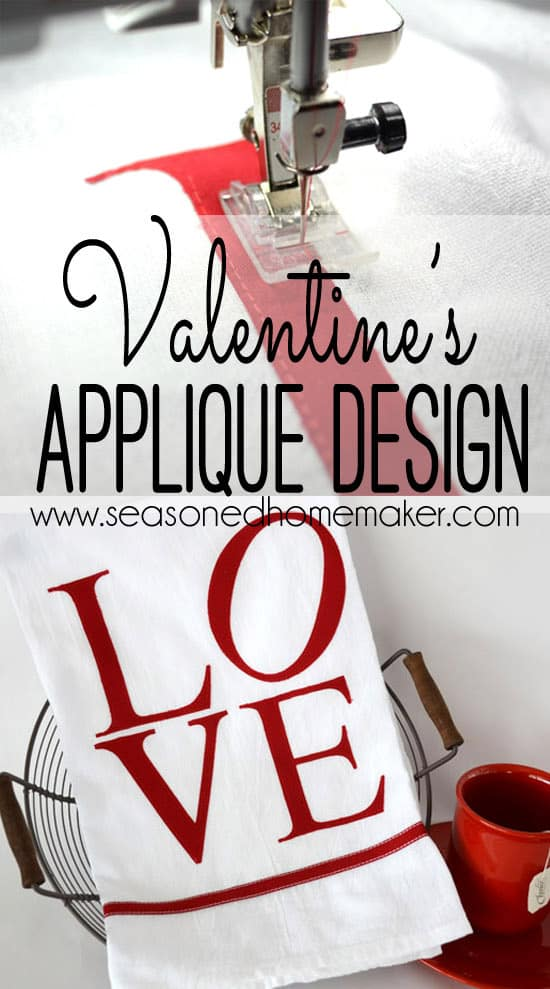 Create a handmade Valentine's gift like this simpIe Valentine's Day Appliqué Tea Towel inspired by the LOVE sculpture in Philadelphia. It's a great way to add a little Valentine's Day home decor.