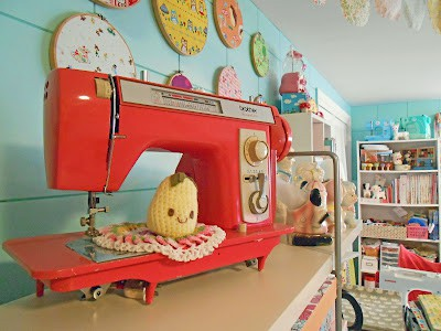 colorful sewing room