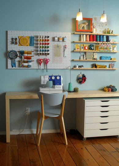 Sewing room ideas the seasoned homemaker - Small space sewing area style ...