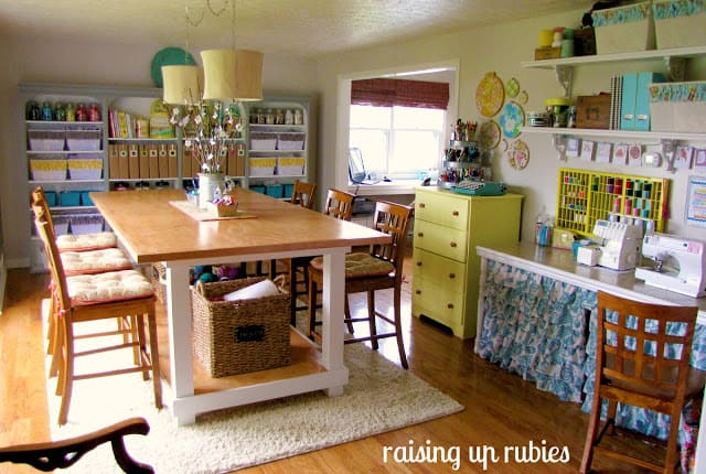 Sewing room ideas the seasoned homemaker for Small craft table with storage