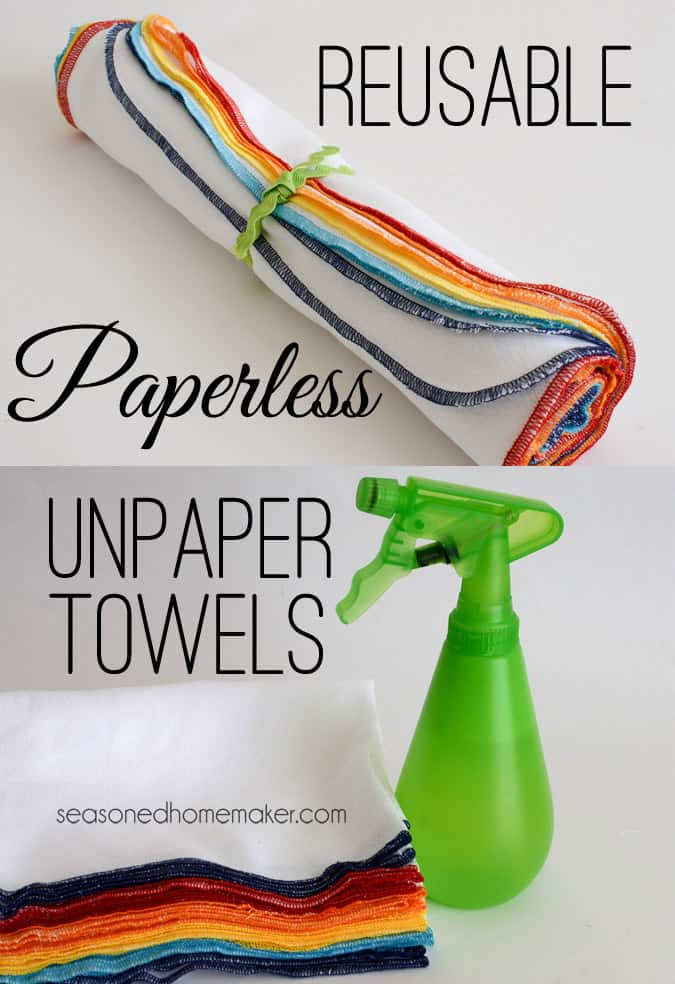 If you own a serger you'll want to make a handful of these Reusable, Paperless UnPaper Towels. In less than 10 minutes you will have a stack of these ready to use. And, they make awesome gifts as well. Don't own a serger? Scroll to the bottom for other ways to sew them. #seasonedhome