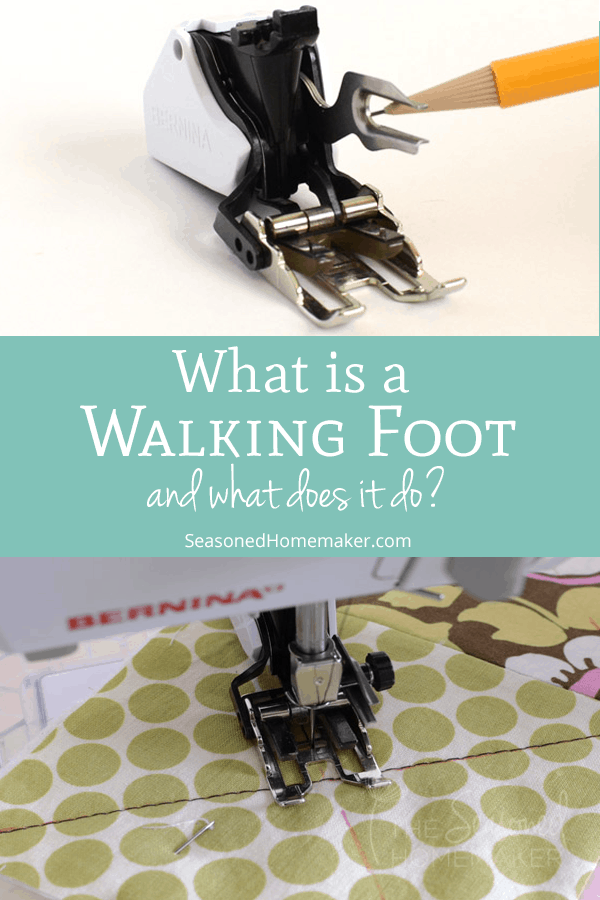 Have you every wondered how quilters and sewists get perfect seams? It's no secret, they use a Walking Foot. #howtouseawalkingfoot #walkingfoottutorial #walkingfootquilting #howtosew #beginnersewing #sewingtips #quiltingtips #beginnerquilting #walkingfootsewing #seasonedhomemaker