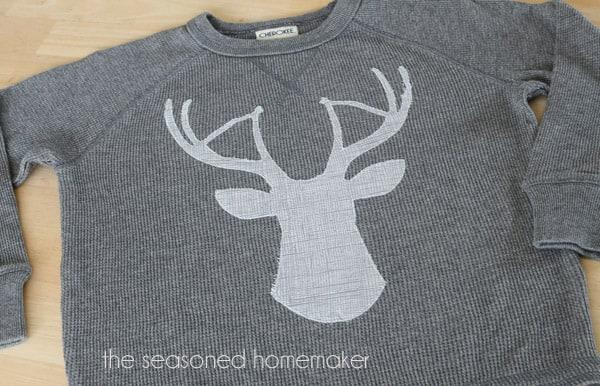 deer head applique on shirt