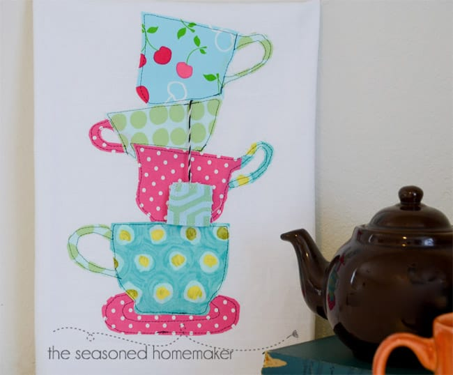Try a little appliqué for last minute gifts. It's fast and easy and uses up some of those sewing scraps. This simple to sew Teacup and Teapot Tea Towel Tutorial includes patterns and a detailed tutorial. DIY | sewing | appliqué #seasonedhome