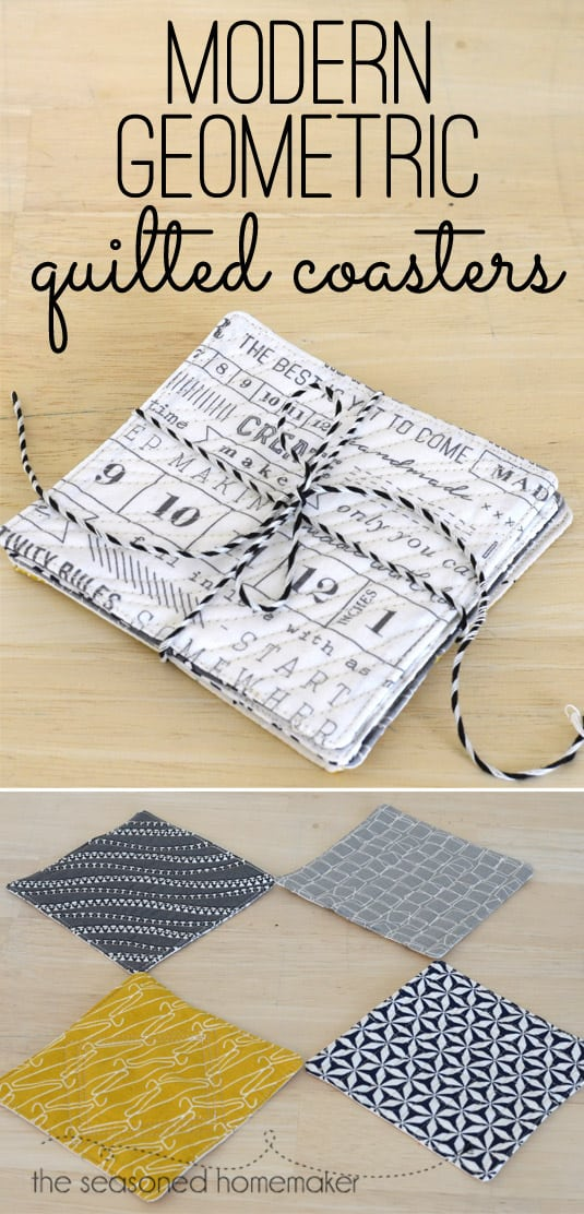 If you love sewing, quilting, and DIY then Learn How to Create Quilted Coasters in an Hour or Less. The modern geometric design of the fabric does the work for you. Sew and quilt these coasters with a cute fabric in a few minutes.