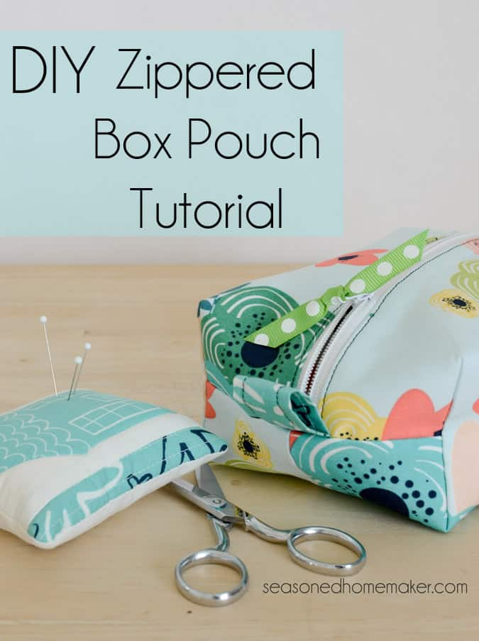 Want an easy DIY Sewing Project. Learn how to sew simple DIY Zippered Box Pouch. All you need are a few fat quarters and the ability to sew a straight stitch. sewing | DIY