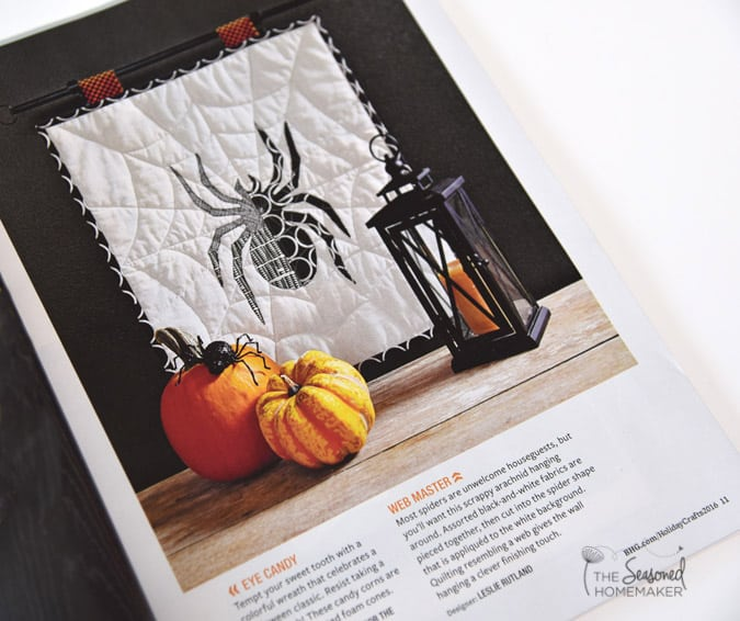 Super fun and easy Halloween Craft. The Spooky Spider Mini-Quilt is a fun way to decorate for Halloween. Learn How to Make a Bewitching Halloween Spider Mini Quilt in an Afternoon. Have fun sewing for Halloween.