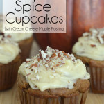 Celebrate Fall with these amazing Gluten-Free Pumpkin Spice Cupcakes. Rich, moist and topped with Cream Cheese Maple Frosting and a sprinkle of chopped pecans. A little taste of heaven in each bite. fall   desserts   comfort food