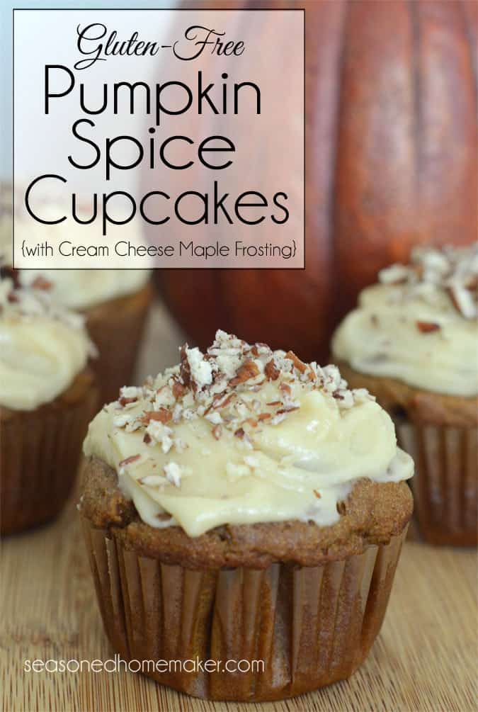 Celebrate Fall with these amazing Gluten-Free Pumpkin Spice Cupcakes. Rich, moist and topped with Cream Cheese Maple Frosting and a sprinkle of chopped pecans. A little taste of heaven in each bite. fall | Popular Pins | comfort food