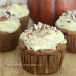 Celebrate Fall with these amazing Gluten-Free Pumpkin Spice Cupcakes. Rich, moist and topped with Cream Cheese Maple Frosting and a sprinkle of chopped pecans. A little taste of heaven in each bite. fall | desserts | comfort food