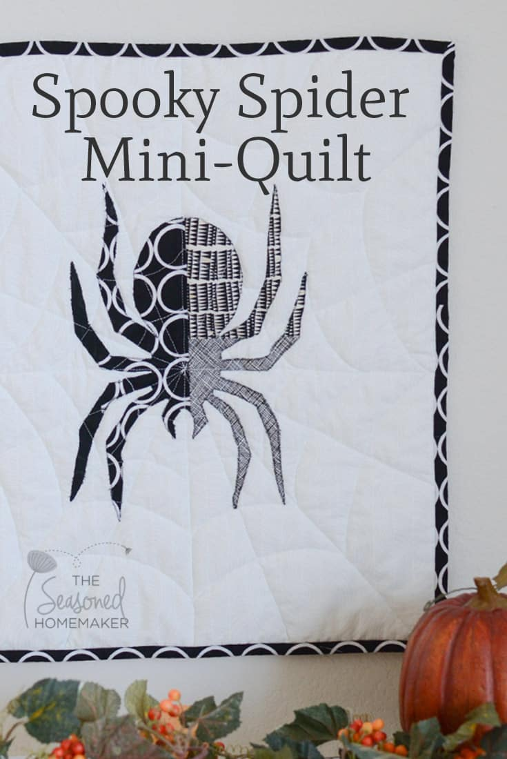 Super fun and easy Halloween Craft. The Spooky Spider Mini-Quilt is a fun way to decorate for Halloween. The quilt is fast, easy, and can be completed in an afternoon. Have fun sewing for Halloween.