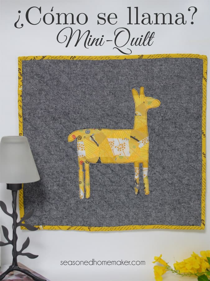 Want a way to use of up those sewing scraps. Applique is an excellent way to embellish a modern quilt. It's ideal for all sorts of sewing projects. If you can sew a straight stitch then you can make Como Se Llama Mini Quilt. The quilt is fast, easy, and can be completed in an afternoon. width=