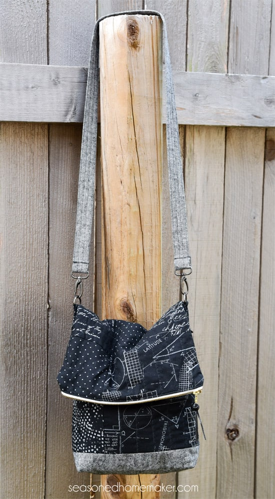 Easy to sew fold crossover bag pattern. Sew a custom purse that looks like you bought. By using interesting materials you can create a simple but stylish crossover bag.