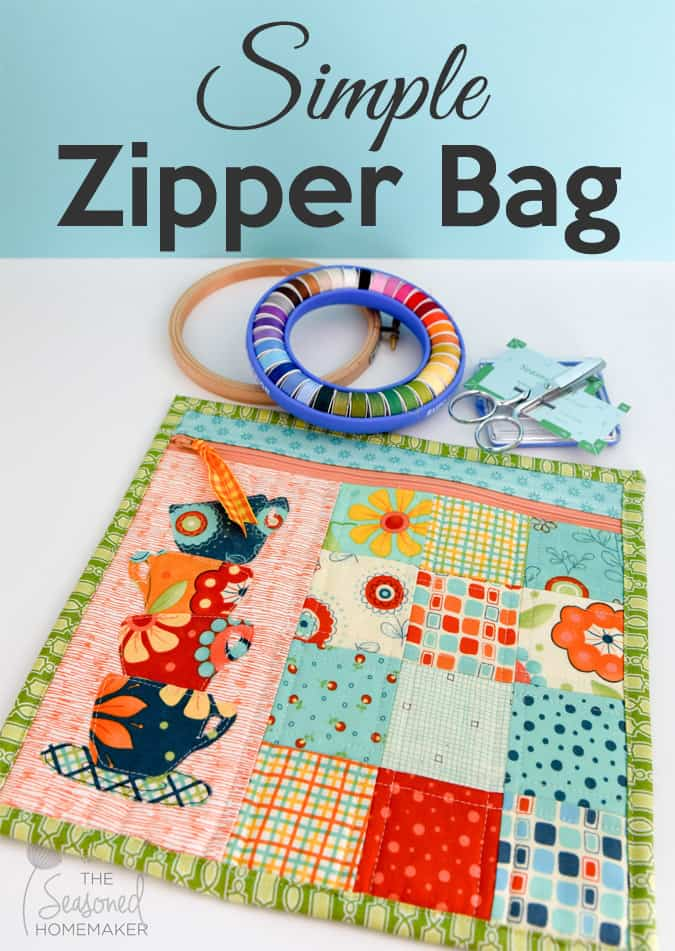 Learn how to sew a simple zipper bag. It's super easy. If you can sew a straight stitch you can make this tote bag. This quilted zipper bag also allows you to embellish it with appliqué.
