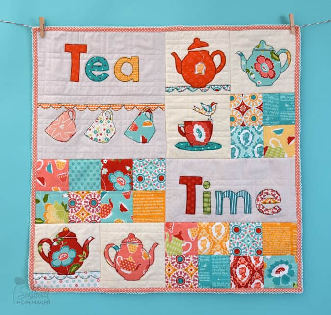 """Tea Time"" Free QAYG Quilt Pattern designed by Leslie Rutland from The Seasoned Homemaker"