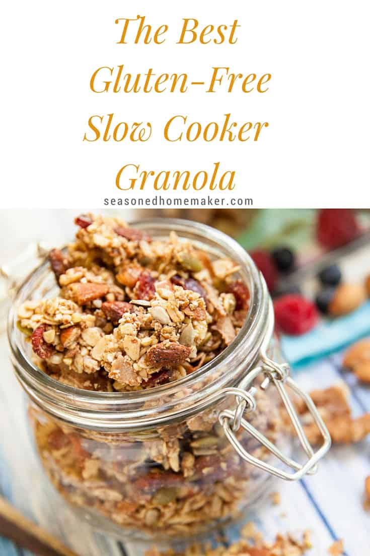 The easiest way to make granola is in a slow cooker or crock pot. This homemade granola recipe is gluten-free, dairy-free, and vegan. Best of all, it's so easy to make and is ideal for a healthy breakfast, clean eating, and even dessert!