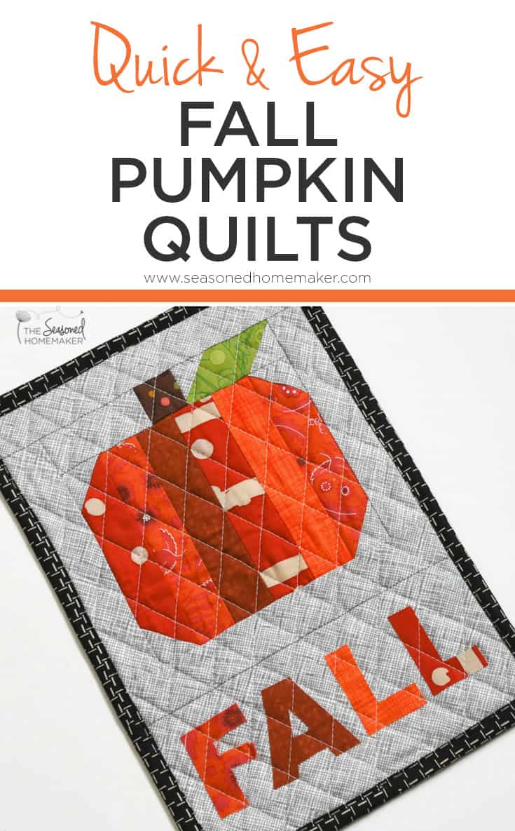 If you love fall decorating, but don't have a lot of time for quilting. Try one of these Quick and Easy Fall Pumpkin Quilts. Make one in a couple of hours!