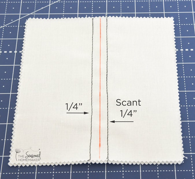 "Both scant and 1/4"" seam allowances."