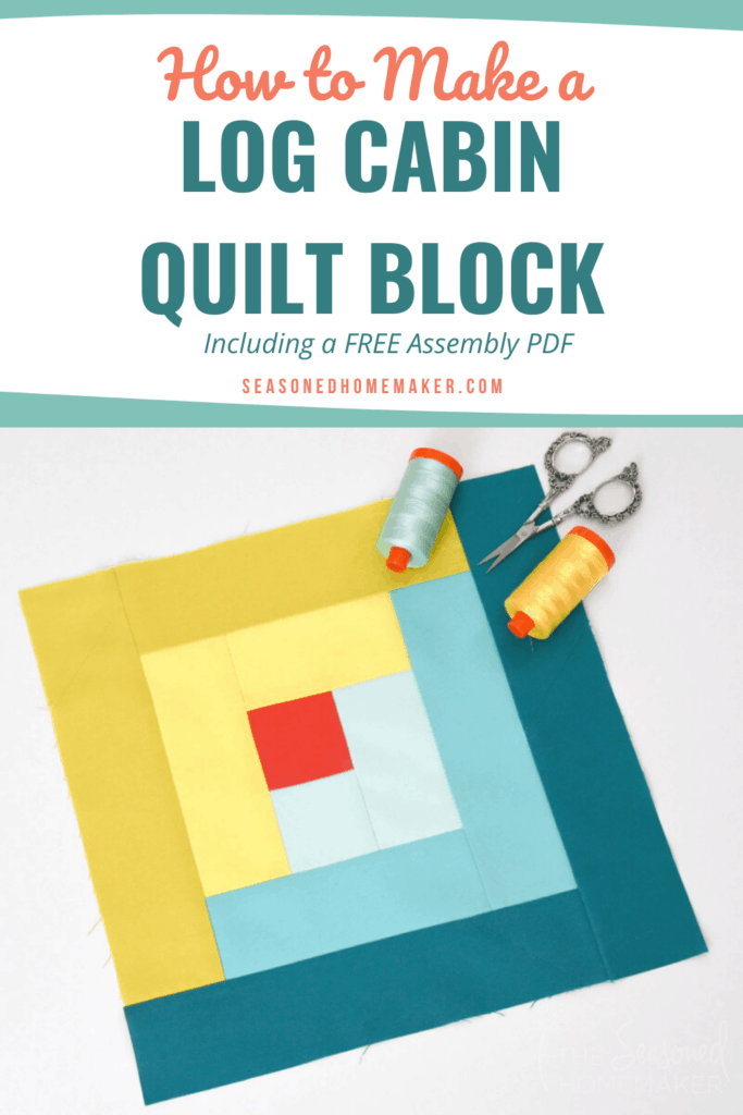How to Make a Log Cabin Quilt Block - pin image