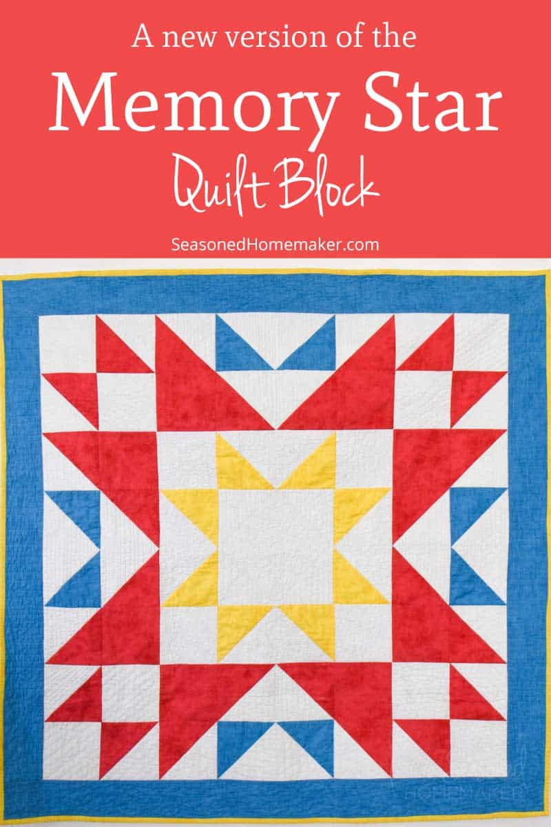Learn How to Make a double Memory Star Quilt Block with a twist with these simple instructions. The twist makes it a cross between a Memory Star block and a Blueberry Pie block. #memorstarquiltblock #memorstarquilt #blueberrypiequiltblock #easyquilt #quiltblocks #easyquiltblocks #halfsquaretriangles #howtoquilt #quilttutorials
