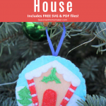 Gingerbread Felt Christmas Ornament Pattern - hanging from tree