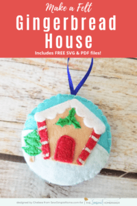 Gingerbread Felt Christmas Ornament on tree