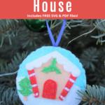Gingerbread Felt Christmas Ornament on tree
