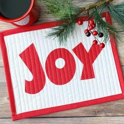 Holiday Mug Rug with word Joy