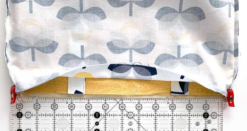 Place handles inside Simple Tote Bag Tutorial