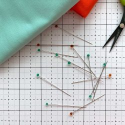 Clover Glass Head Pins on cutting mat