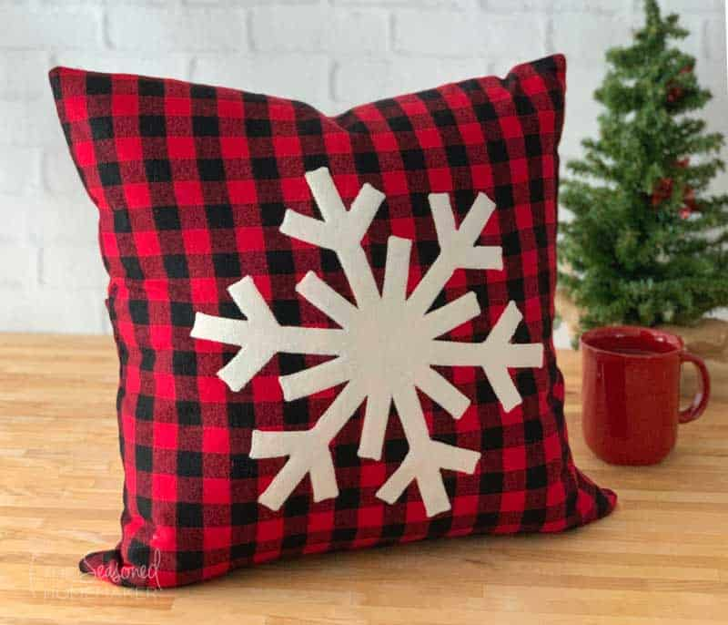 Snowflake Applique Christmas Pillow