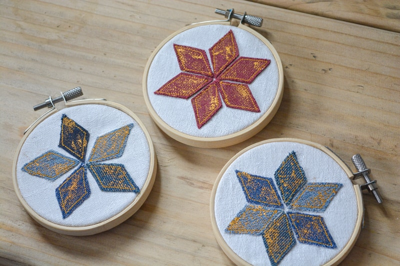 Embroidery Hoop Ornament with Quilting Star