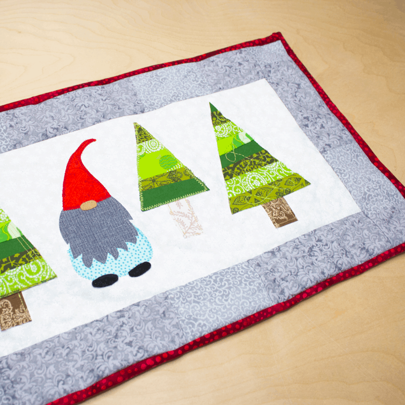 Christmas Tree Table Runner with Gnome