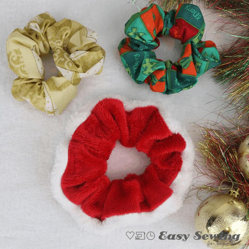 Christmas hair scrunchies