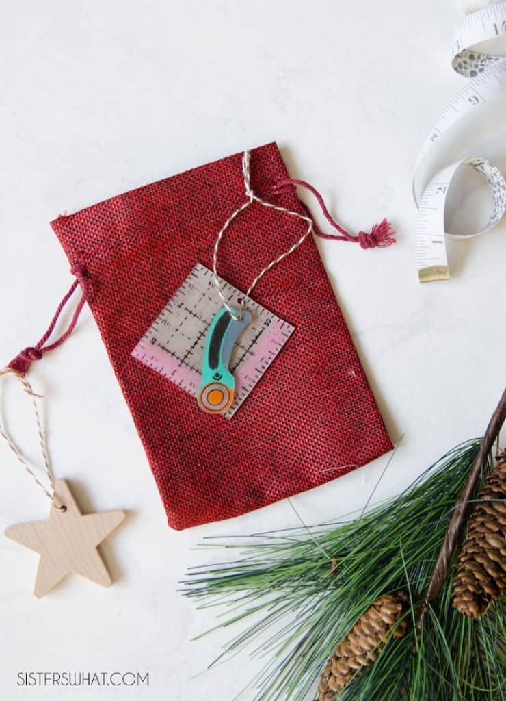 Christmas Sewing Ornament - ruler and rotary cutter