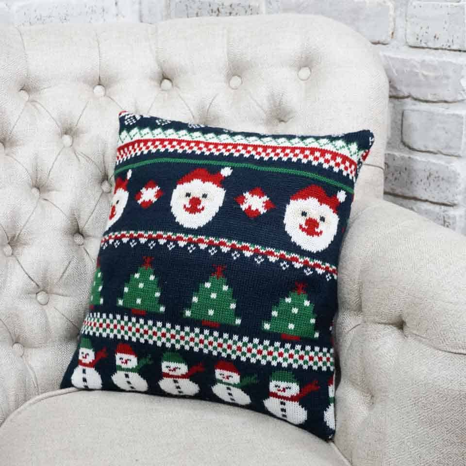 Pillow made from holiday sweater