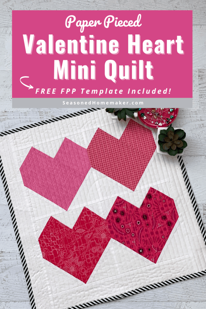 Valentine Hearts Mini Quilt Pin