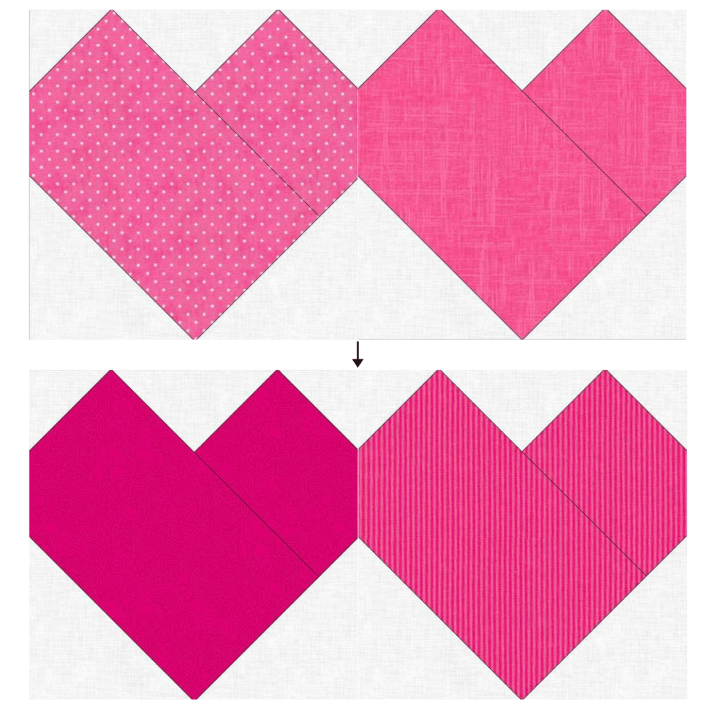 Valentine Hearts Mini Quilt - Connect top and bottom rows