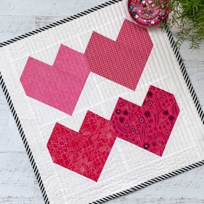 Finished Valentine Hearts Mini Quilt