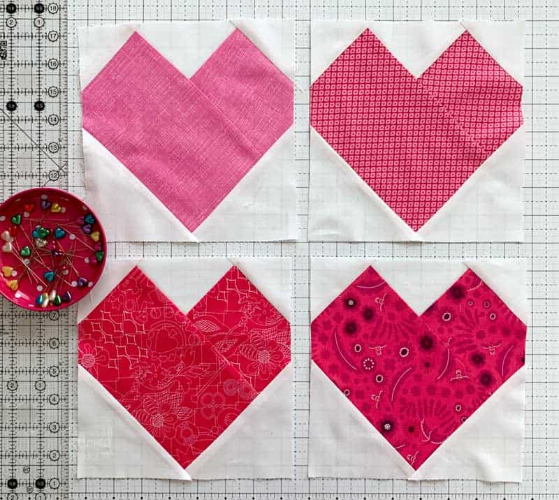 Valentine Hearts Mini Quilt Layout
