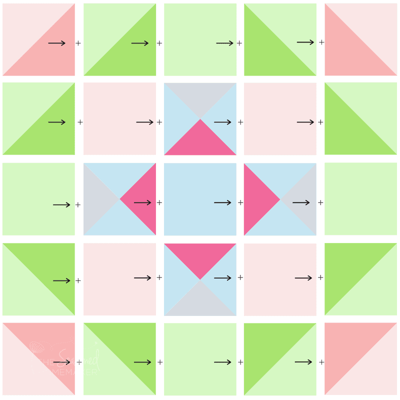 Simple Easter Mini Quilt assembly diagram